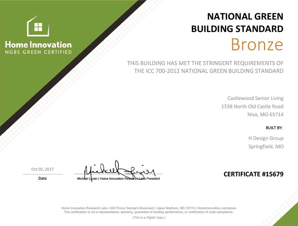The Castlewood Earns NGBS Green Certification